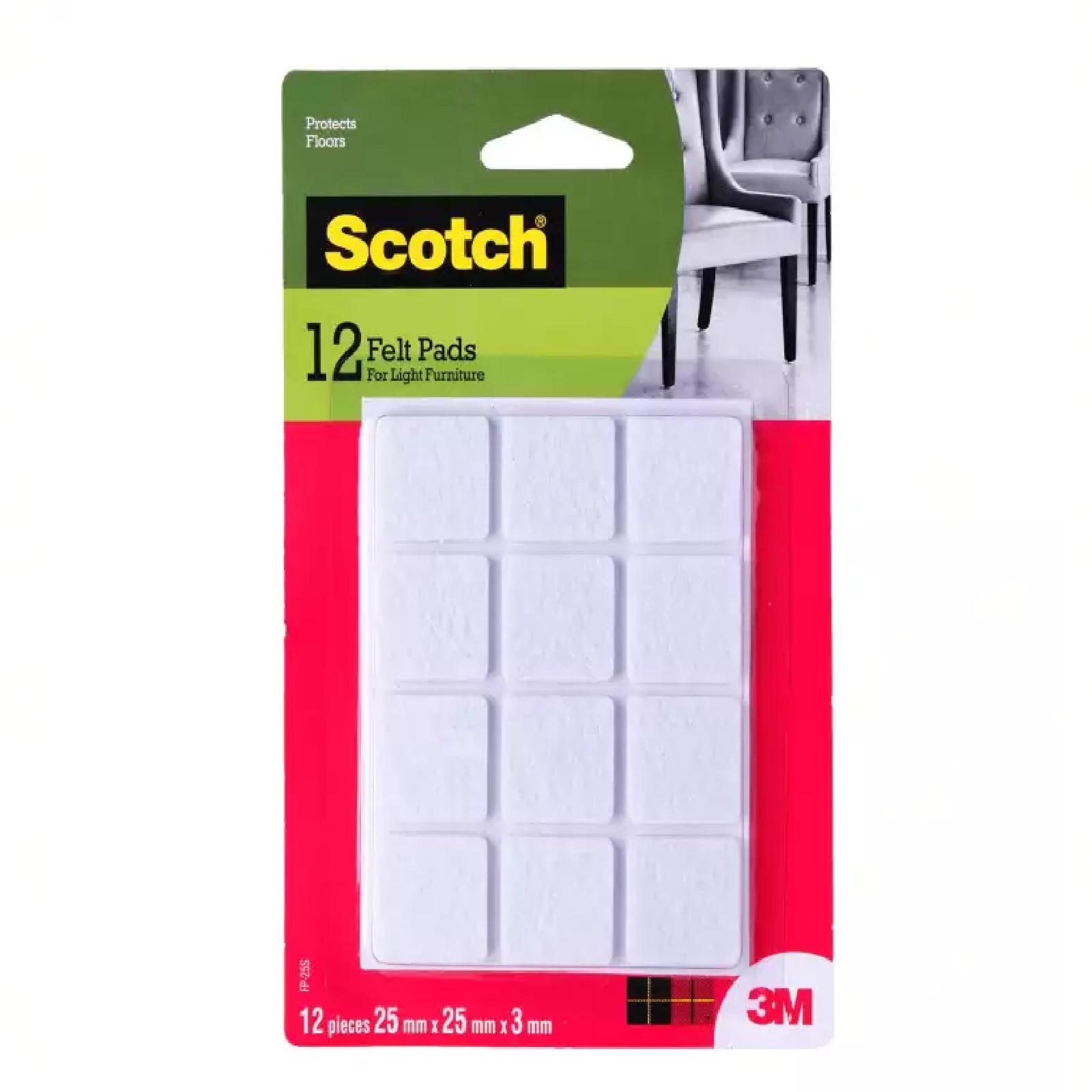 3M Scotch Felt Pad Square 25MM X 25MM 12PC/Pack
