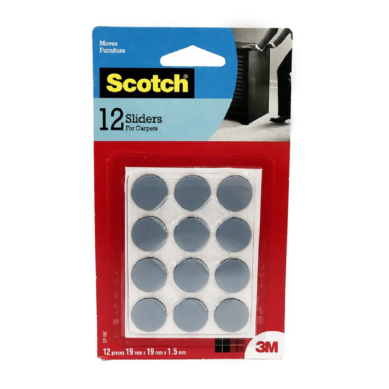 3M Scotch Sliders Circle 19MM 12PC/Pack