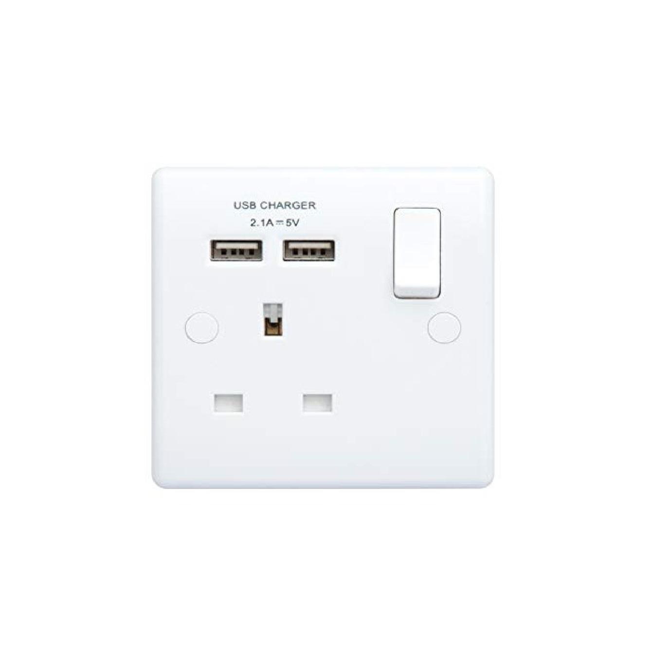 British General BG 13A Single Socket Single Pole Switch 2 X USB 2.1A