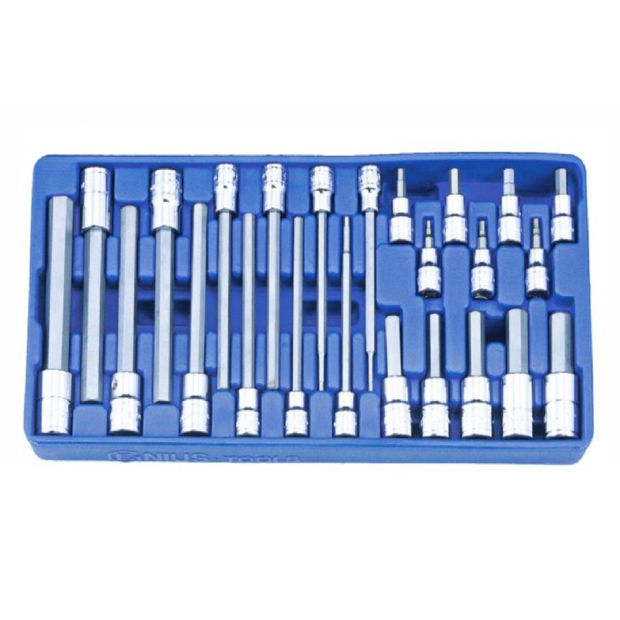 Genius Tools 24PC 3/8 And 1/2 DR SAE Hex Bit Socket Set
