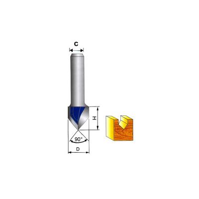 "G-Tech Tungsten Carbide 'V' Grooving Bit 1/4"" Shank"