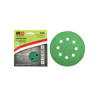 """M10 5""""(125MM) Heavy Duty Velcro Sanding Disc With 8 Holes Grit 40 Abrasive Disc (Box Of 10PCS) For Wood & Metal"""