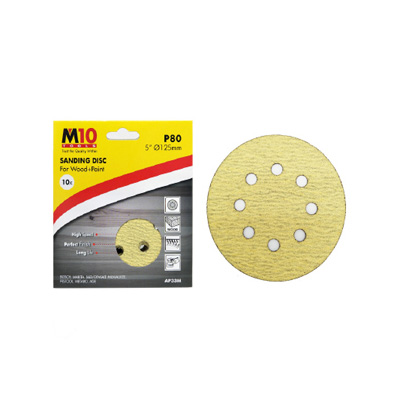 """M10 5""""(125MM) Heavy Duty Velcro Sanding Disc With 8 Holes Abrasive Disc (Box Of 10PCS) For Wood - Yellow"""