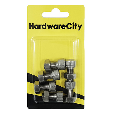 HWC SS316 Marine Fasteners, M8 X 16 Allen Cap Screws And Nut, 6PC/Pack