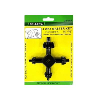 Sellery 26-342 4 Way Master Chuck Hex Key 1/2  3/4
