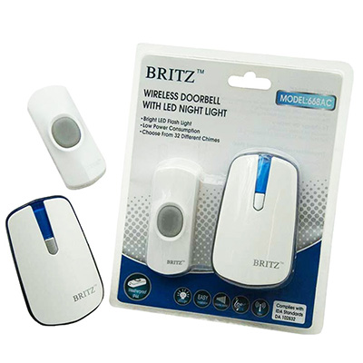 Britz Wireless DoorBell w/ LED Night Light - 662DC