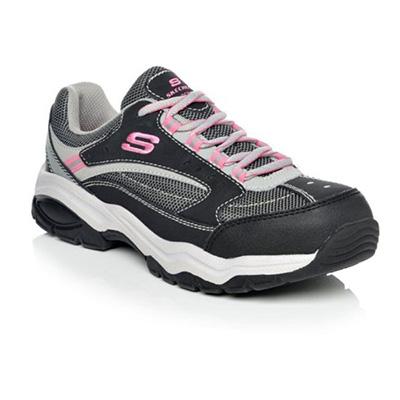 Skechers Women 76601 Biscoe Steel Toe Work Shoes (Grey-Pink)