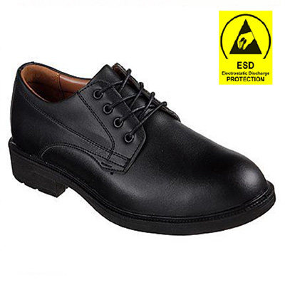 Skechers Work 77170 Lace-Up Executive Steel Toe Black Safety Office Shoe (ESD Feature)