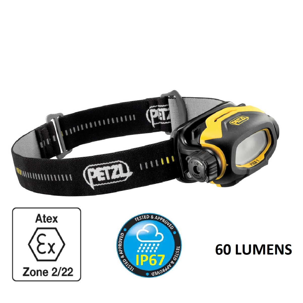 Petzl PIXA® 1 LED 60 Lumens ATEX Hazardous Environment Headlamp 2 X AA Sized Batteries Included