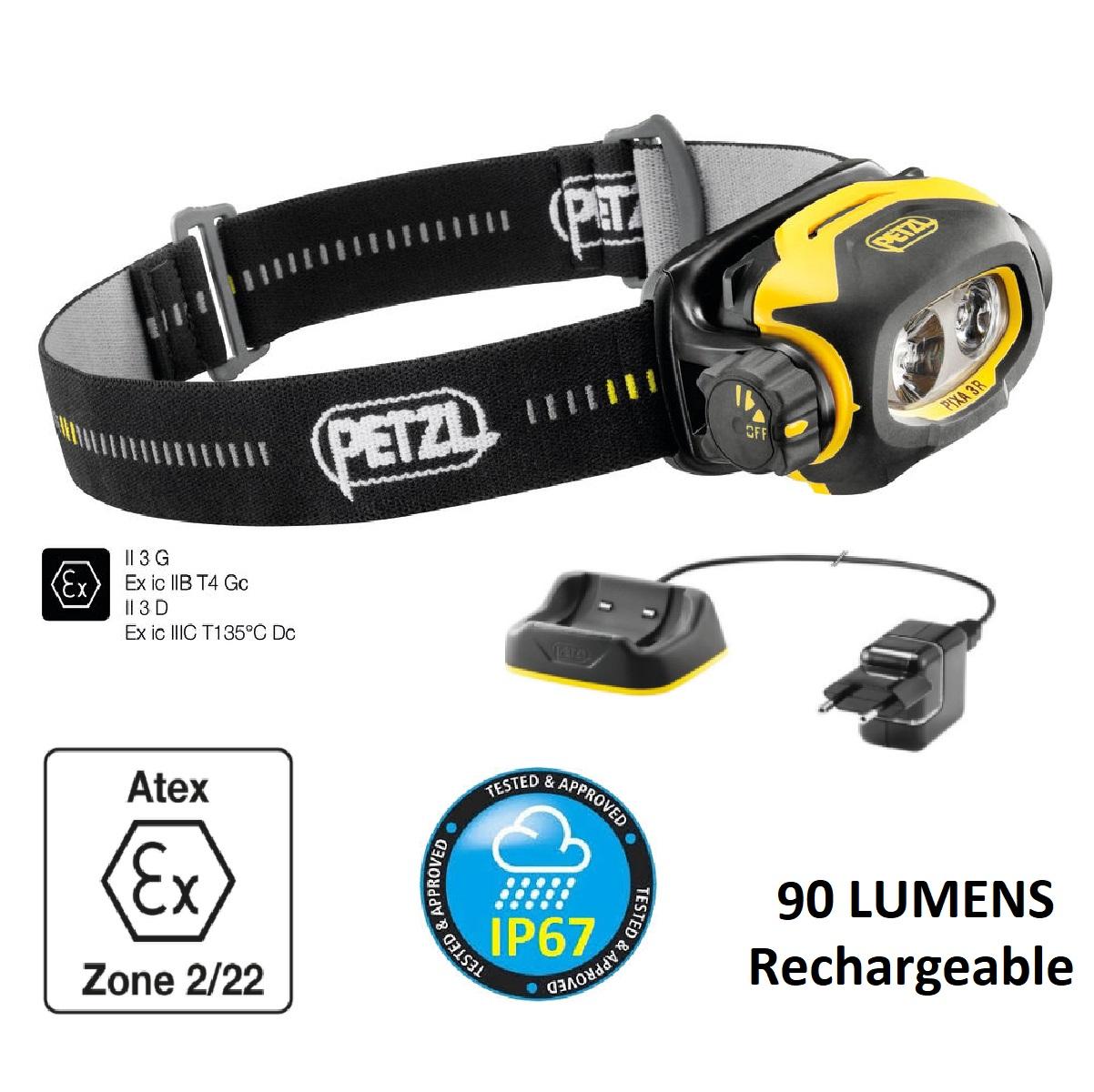 Petzl PIXA® 3R LED 90 Lumens ATEX Hazardous Environment Headlamp Rechargeable