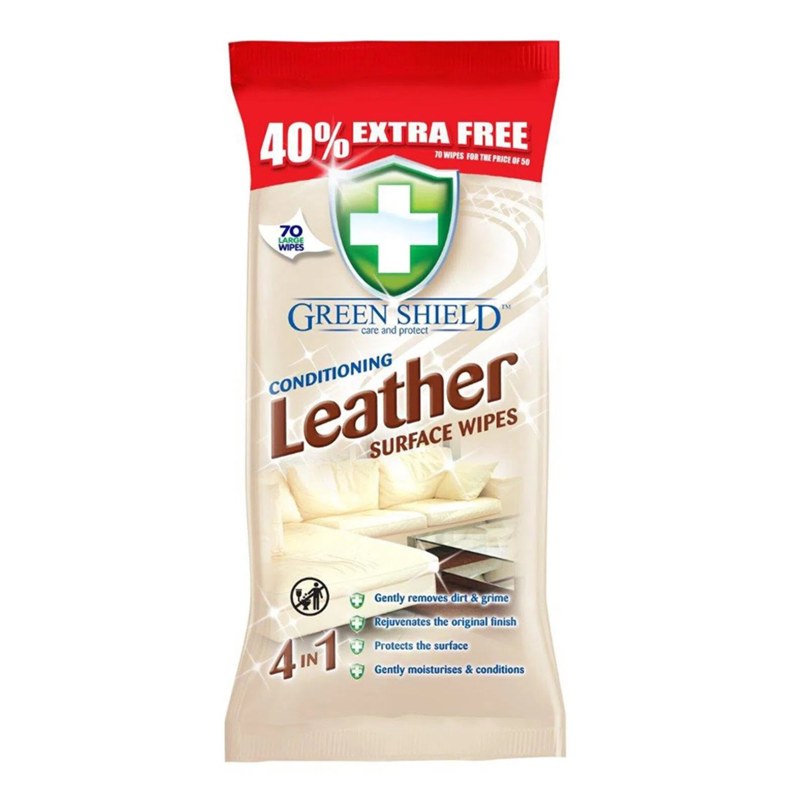 Greenshield Conditioning Leather Wipes ( 70 Wipes)