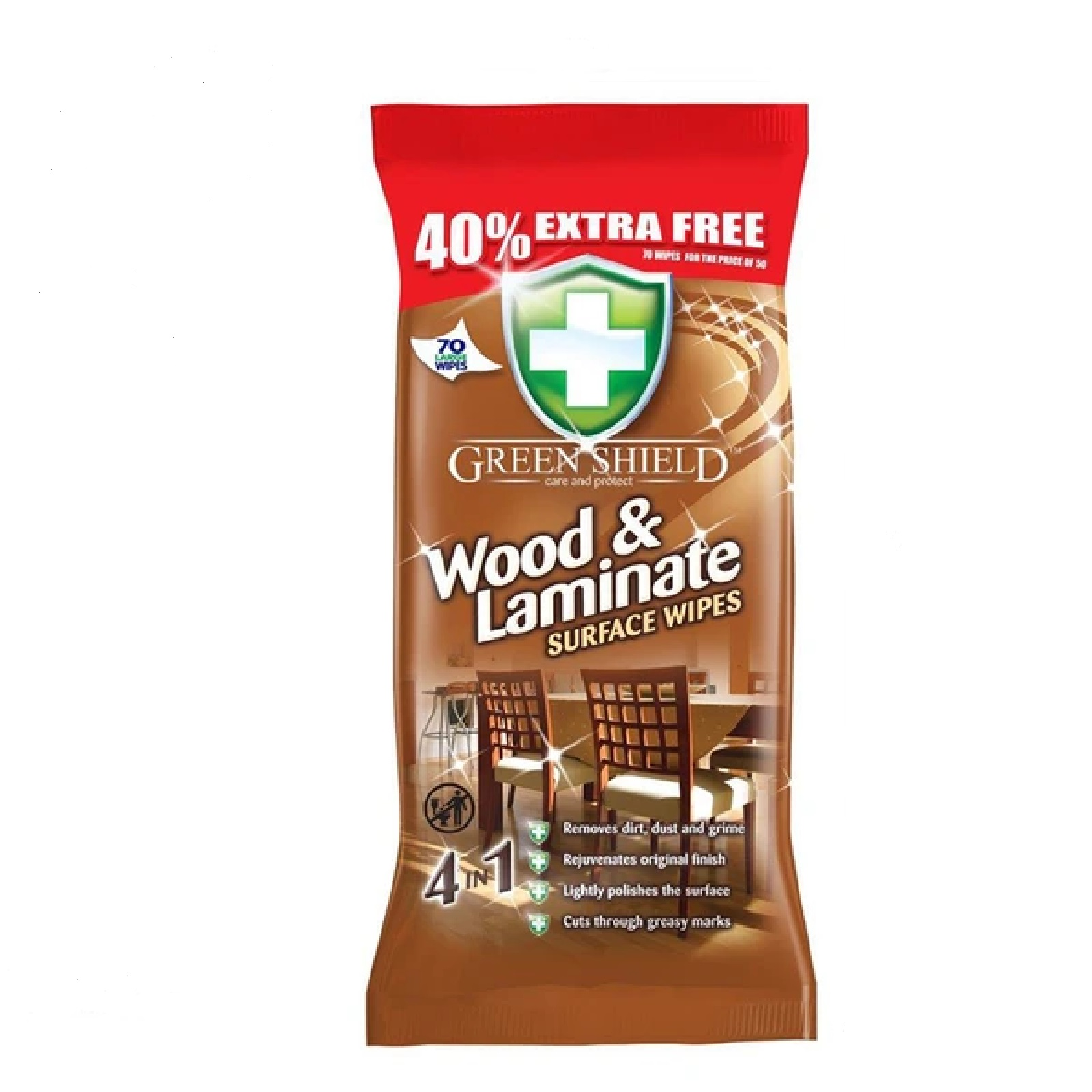 Greenshield Wood Surface Wipes (70 Wipes)